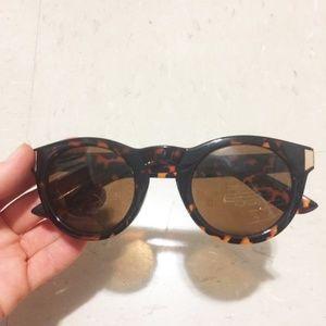 frame cool trendy sunglasses brown round vintage